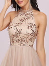 Stylish Halter Neckline Sequin Bodice Short Tulle Prom Dress-Blush 5