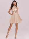Stylish Halter Neckline Sequin Bodice Short Tulle Prom Dress-Blush 1