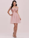 Off Shoulder Short Tulle Prom Dress With Sequin Bodice-Pink 6