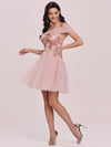 Off Shoulder Short Tulle Prom Dress With Sequin Bodice-Pink 4