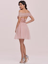 Off Shoulder Short Tulle Prom Dress With Sequin Bodice-Pink 7