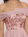 Off Shoulder Short Tulle Prom Dress With Sequin Bodice-Pink 8