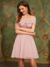 Off Shoulder Short Tulle Prom Dress With Sequin Bodice-Pink 1