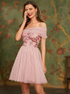 Off Shoulder Short Tulle Prom Dress With Sequin Bodice-Pink 3