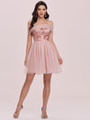 Off Shoulder Short Tulle Prom Dress With Sequin Bodice-Pink 5