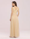 Fancy Sleeveless Solid Color Tulle Bridesmaid Dress With Belt-Gold 2