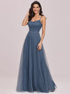 Simple Glittering A-Line Evening Dress With Lace-Up Back-Dusty Navy 3