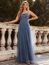 Simple Glittering A-Line Evening Dress With Lace-Up Back-Dusty Navy 1