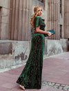 Sexy V Neck Velvet Evenig Dress With Gold Stamping-Dark Green 2