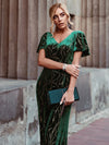 Sexy V Neck Velvet Evenig Dress With Gold Stamping-Dark Green 3