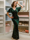 Sexy V Neck Velvet Evenig Dress With Gold Stamping-Dark Green 4