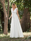 Adorable A-Line Satin Wedding Dress With Deep V Neck-Cream 1