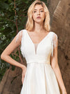 Adorable A-Line Satin Wedding Dress With Deep V Neck-Cream 5