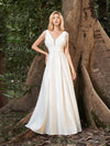 Adorable A-Line Satin Wedding Dress With Deep V Neck-Cream 3