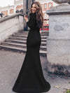 Modest Square Neckline Mermaid Maxi Evening Dress-Black 2
