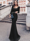 Modest Square Neckline Mermaid Maxi Evening Dress-Black 1