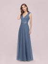 Romantic Diamond Stamping V Neck Tulle Prom Dress With Appliques-Dusty Navy 3