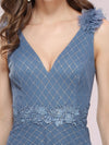 Romantic Diamond Stamping V Neck Tulle Prom Dress With Appliques-Dusty Navy 5