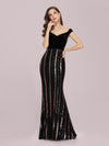 Women'S Hot Off Shoulder Fishtail Sequin Evening Dress-Black 1