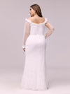 Dainty Fishtail Lace Plus Size Wedding Dress With See-Through Sleeves-Cream 2