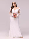Dainty Fishtail Lace Plus Size Wedding Dress With See-Through Sleeves-Cream 4