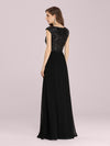 Stunning A-Line Chiffon Evening Dress With Sequin Bodice-Black 2
