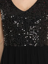 Stunning A-Line Chiffon Evening Dress With Sequin Bodice-Black 5