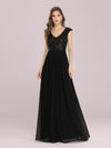 Stunning A-Line Chiffon Evening Dress With Sequin Bodice-Black 1