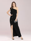 Hot One Shoulder Sheath Party Dress With Ruffles-Black 1