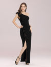 Hot One Shoulder Sheath Party Dress With Ruffles-Black 4