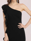 Hot One Shoulder Sheath Party Dress With Ruffles-Black 5