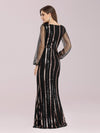Shiny Mermaid Sequin Evening Dress With See-Through Sleeves-Black 2