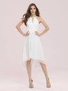 Plain Round Neck Lace & Chiffon Wedding Dress For Women-Cream 4