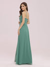 Women'S Simple V Neck Chiffon Bridesmaid Dress With Side Split-Green Bean 2