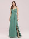 Women'S Simple V Neck Chiffon Bridesmaid Dress With Side Split-Green Bean 3