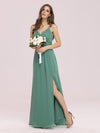 Women'S Simple V Neck Chiffon Bridesmaid Dress With Side Split-Green Bean 4