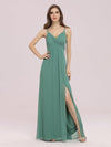 Women'S Simple V Neck Chiffon Bridesmaid Dress With Side Split-Green Bean 1
