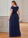 Alluring Plus Size Round Neckline Lace Evening Dresses-Navy Blue 2