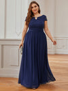 Alluring Plus Size Round Neckline Lace Evening Dresses-Navy Blue 3