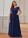 Alluring Plus Size Round Neckline Lace Evening Dresses-Navy Blue 4