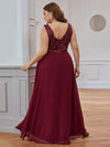 Elegant Paillette & Chiffon V-Neck A-Line Sleeveless Plus Size Evening Dresses-Burgundy 2