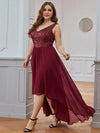 Elegant Paillette & Chiffon V-Neck A-Line Sleeveless Plus Size Evening Dresses-Burgundy 3