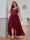 Elegant Paillette & Chiffon V-Neck A-Line Sleeveless Plus Size Evening Dresses-Burgundy 4