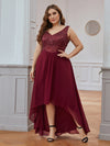 Elegant Paillette & Chiffon V-Neck A-Line Sleeveless Plus Size Evening Dresses-Burgundy 1
