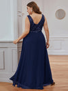 Elegant Paillette & Chiffon V-Neck A-Line Sleeveless Plus Size Evening Dresses-Navy Blue 2