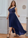 Elegant Paillette & Chiffon V-Neck A-Line Sleeveless Plus Size Evening Dresses-Navy Blue 3