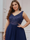 Elegant Paillette & Chiffon V-Neck A-Line Sleeveless Plus Size Evening Dresses-Navy Blue 5