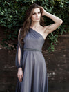 Charming One Shoulder Evening Dresses With Long Sleeve-Grey 7