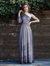 Charming One Shoulder Evening Dresses With Long Sleeve-Grey 6