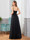 Elegant Round Neck Sleeveless Maxi Evening Dress For Party-Black 5